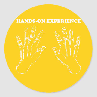Hands-on experience classic round sticker
