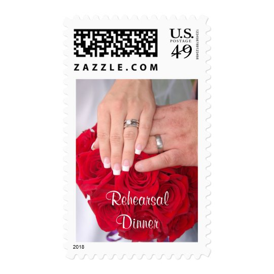 Hands on Red Rose Bouquet - Rehearsal Dinner Postage