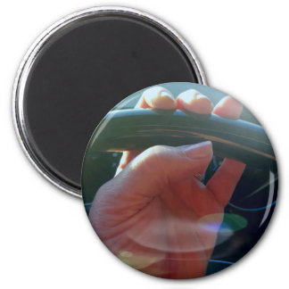 Hands on Steering Wheel Artistic Photography 2 Inch Round Magnet