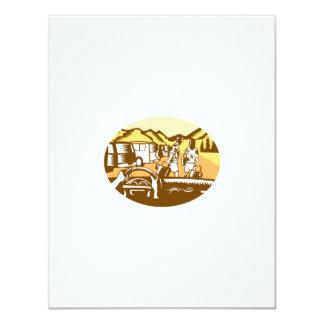Hands on Wheel Tourist Mountain Oval Woodcut Card