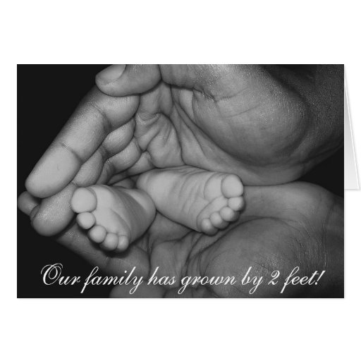 hands, Our family has grown by 2 feet! Card