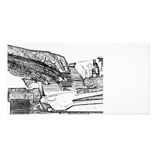 Hands playing piano bw sketch music design personalized photo card