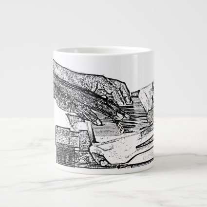 Hands playing piano bw sketch music design extra large mugs
