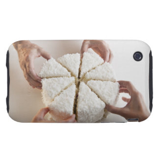Hands pulling slices from cake tough iPhone 3 cover