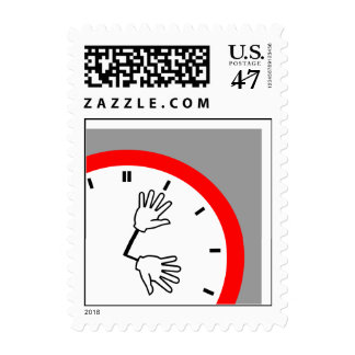 """Hands Retro Clock Face """"Time"""" Postage Stamps"""