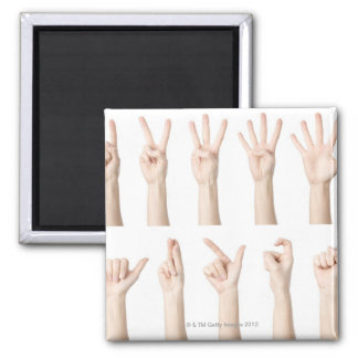 Hands showing Chinese way of counting 2 Inch Square Magnet