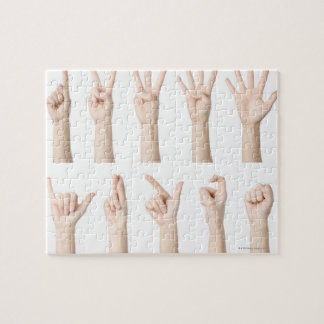 Hands showing Chinese way of counting Jigsaw Puzzle