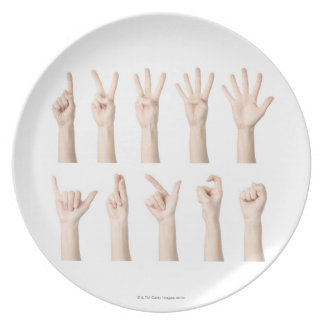 Hands showing Chinese way of counting Melamine Plate