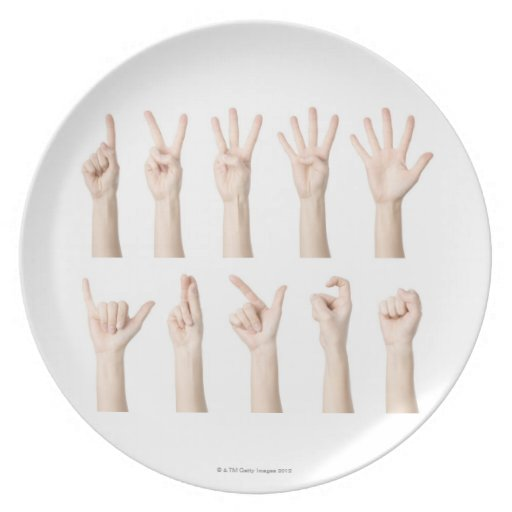 Hands showing Chinese way of counting Dinner Plates