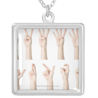 Hands showing Chinese way of counting Square Pendant Necklace