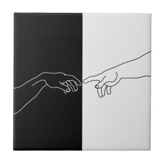 Hands showing the creation of Adam Ceramic Tile