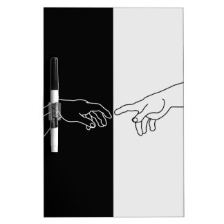 Hands showing the creation of Adam Dry-Erase Board
