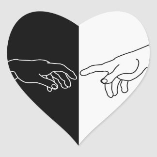 Hands showing the creation of Adam Heart Sticker