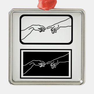 Hands showing the creation of Adam Metal Ornament