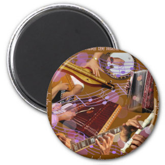 Hands That Make the Music ..Make Happiness (Brown) 2 Inch Round Magnet