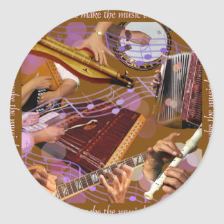 Hands That Make the Music ..Make Happiness (Brown) Classic Round Sticker