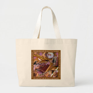Hands That Make the Music ..Make Happiness (Brown) Large Tote Bag