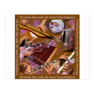 Hands That Make the Music ..Make Happiness (Brown) Postcard
