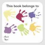 """Hands This Book Belongs To, Bookplate Sticker<br><div class=""""desc"""">Red,  yellow,  green,  blue Hands with words saying This Book Belongs To,  makes a nice kids Bookplate Sticker.</div>"""