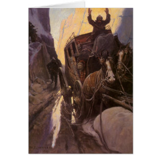 Hands Up! (Hold Up in the Canyon) by NC Wyeth Greeting Cards