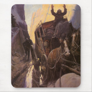 Hands Up! (Hold Up in the Canyon) by NC Wyeth Mousepads