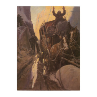 Hands Up Hold Up in the Canyon by NC Wyeth Wood Print