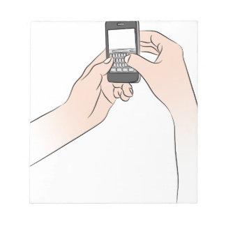 Hands Using Smartphone Notepad