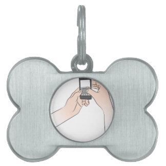 Hands Using Smartphone Pet Tag