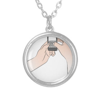 Hands Using Smartphone Round Pendant Necklace