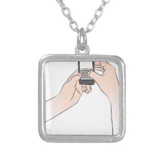 Hands Using Smartphone Square Pendant Necklace