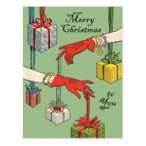 Hands with gifts, merry Christmas vintage greeting Postcard