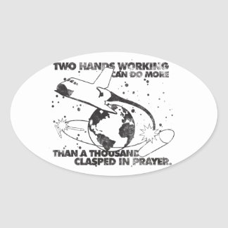 Hands Working Together Oval Sticker