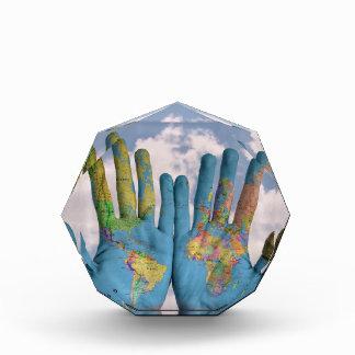 Hands World Map Octagonal Award