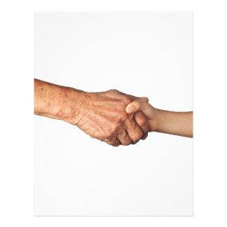 Handshake between a senior and a child letterhead