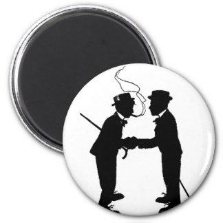 Handshake between gentlemen 2 inch round magnet
