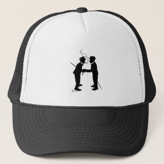Handshake between gentlemen trucker hat