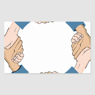 Handshake Circle Hands Rectangular Sticker