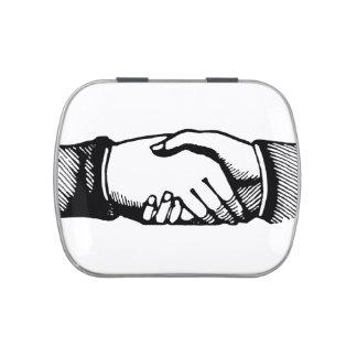 Handshake Geocache Tin with Retro Vintage Hands Candy Tins