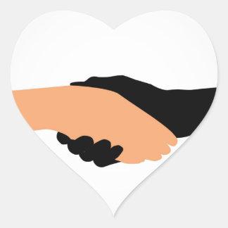 Handshake- Graphic to portray- Stop racism Heart Sticker