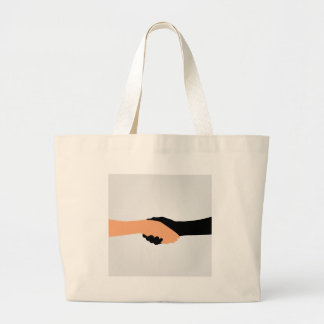 Handshake- Graphic to portray- Stop racism Large Tote Bag