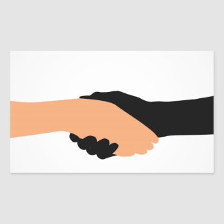 Handshake- Graphic to portray- Stop racism Rectangular Sticker