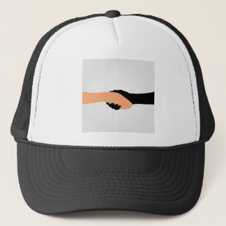 Handshake- Graphic to portray- Stop racism Trucker Hat