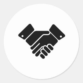 Handshake Sign Classic Round Sticker