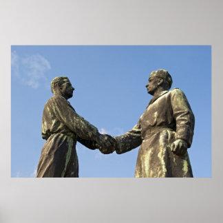 Handshake Statue at Memento Park, Budapest Poster