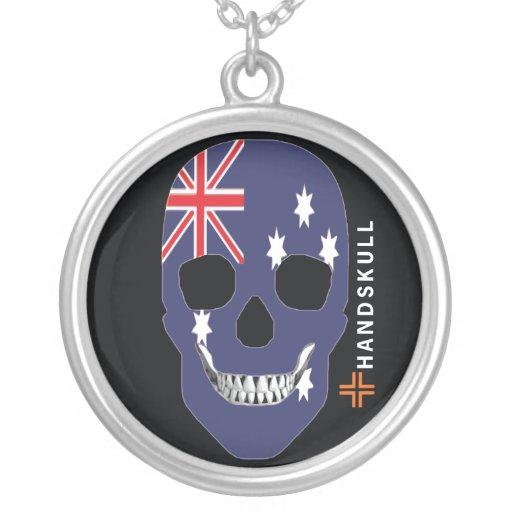 HANDSKULL Australia,Happy skull,Australia flag Round Pendant Necklace