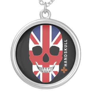 HANDSKULL Great Britain,Happy skull,UK flag Round Pendant Necklace