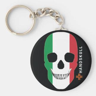 HANDSKULL Italia, cráneo feliz, bandera de Italia Llavero Redondo Tipo Pin