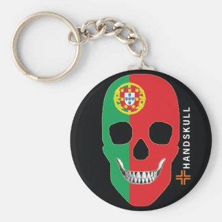 HANDSKULL Portugal,Happy skull,Portugal flag Keychain