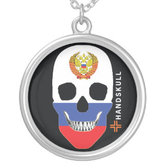 HANDSKULL Russia,Happy skull, Russia flag Silver Plated Necklace