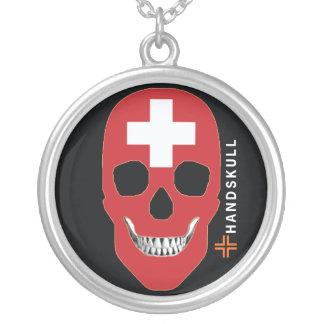 HANDSKULL Suiza, cráneo feliz, bandera de Suiza Colgante Redondo